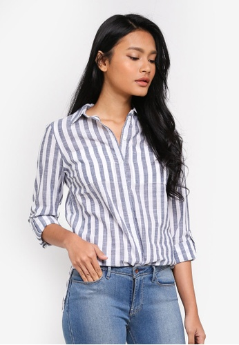 Dorothy Perkins navy Navy/White Stripe Shirt D8789AA4435696GS_1