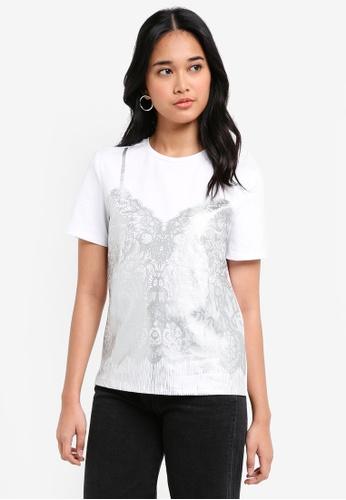 Something Borrowed white Lace Print Tee 48286AA292D17FGS_1