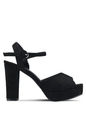 Mimosa 黑色 後底繞踝粗跟鞋 21407SHEE1E1D7GS_1