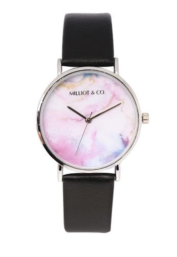 Milliot & Co. black Mavis Silver Leather Strap Watch 822B8AC7636201GS_1