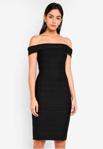 Dorothy Perkins 黑色 Bardot Bandage Bodycon Dress FD691AAA02CC30GS_1