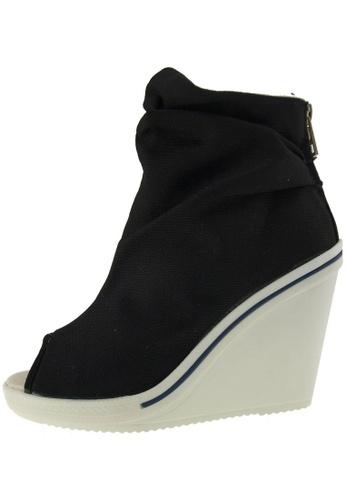 Maxstar 黑色 新款韩国鞋777-ToeOpen-Wrinkled時尚帆布布混合女黑色 US Women Size MA345SH76HBVTW_1