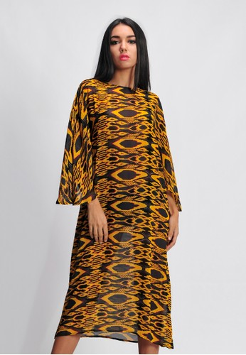 SJO & SIMPAPLY yellow SJO's Wing Bird Yellow Print Women's Dress 90871AA3238BC7GS_1