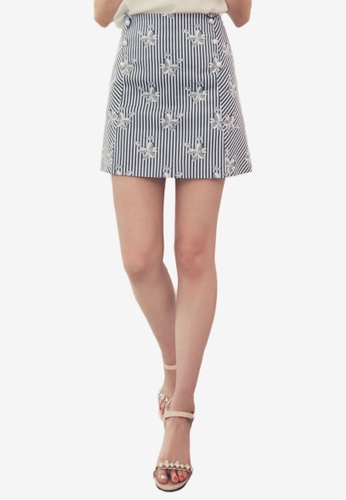 Eyescream navy Pearl Accent Floral Mini Skirt 1AC43AA242312DGS_1