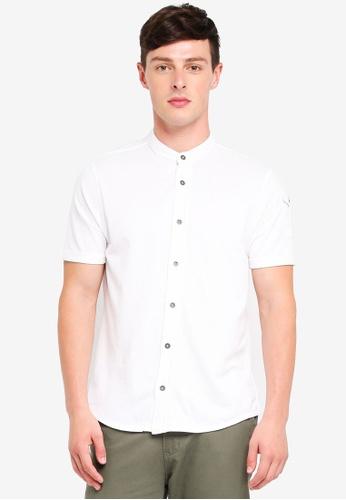 Brave Soul 白色 中山領短袖襯衫 AE8AAAA639E785GS_1