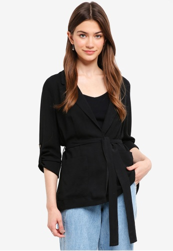 Something Borrowed black Long Loose Fit Blazer 5DB6AAAECCE572GS_1