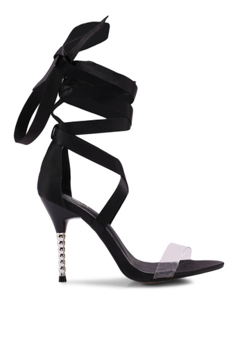 MISSGUIDED black Feature Heel Satin Wrap Heels FEA8FSHEF9453AGS_1