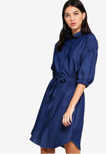 ZALORA navy Button Down Chambray Shirt Dress A39AAAA0FF7C3EGS_1