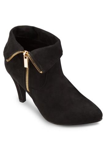 反esprit tote bag折拉鍊仿麂皮高跟踝靴, 女鞋, 鞋