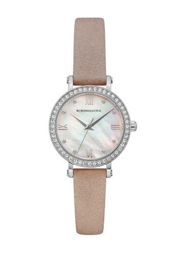 BCBG brown BCBGMAXAZRIA Silver and Brown Leather Watch 044C8ACA79378FGS_1