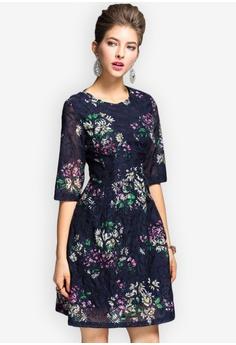 f8ed658cc19d Sunnydaysweety blue Elegant Floral Pattern One-piece Dress SU219AA0GQ6VSG_1