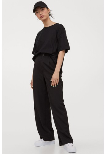 H&M black Wide trousers E042AAA626C787GS_1