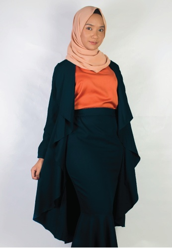 Zaryluq green and blue Waterfall Lapel Cardigan in Peppermint 296F9AA2A7969FGS_1