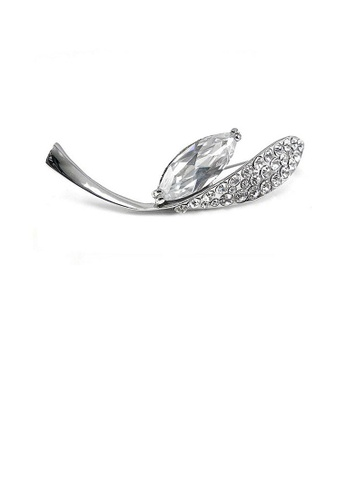 Glamorousky silver Elegant Brooch with Silver Austrian Element Crystal 65734AC43505E3GS_1