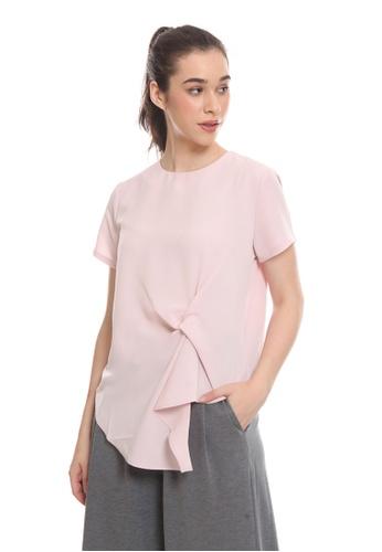 The Executive pink Asymmetrical Twist Blouse C9E1CAA8E5514FGS_1