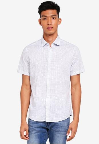 BOSS 白色 短袖印花襯衫 0B4CAAAC17AF2AGS_1