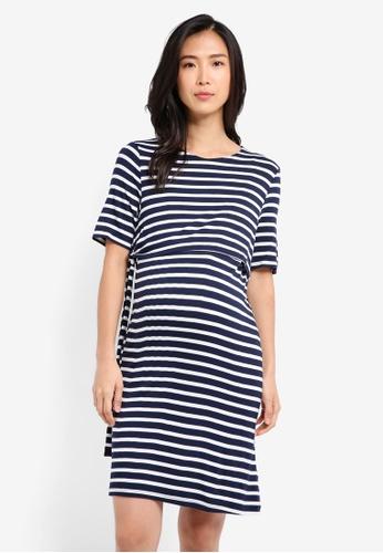 TOPSHOP navy Maternity Tie Side Nursing Dress TO412AA0SRSWMY_1