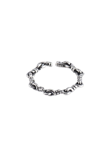 A-Excellence silver Premium S925 Sliver Intertwined Ring D72EAAC96DA253GS_1