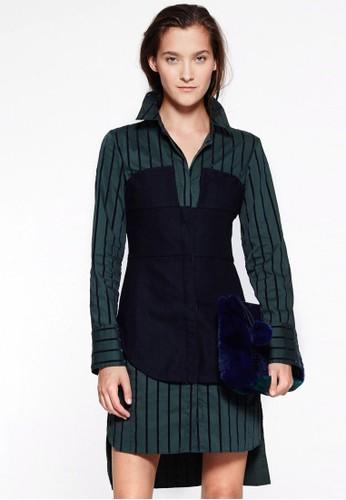 LOVE 撞色拼接條紋襯衫連身裙esprit outlet 旺角, 服飾, 洋裝