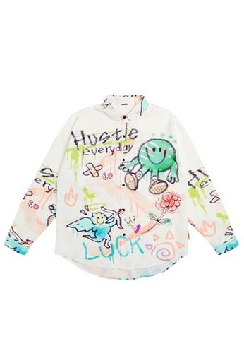 Twenty Eight Shoes Crayon Graffited Printed Long Shirt 7005W21 06F16AA9806668GS_1