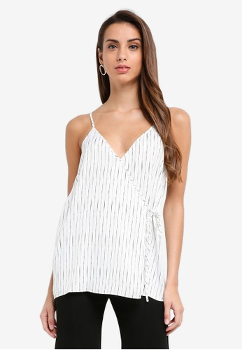 River Island white Nina Wrap Vestivory Stripe Top 4EE73AABAD93A0GS_1