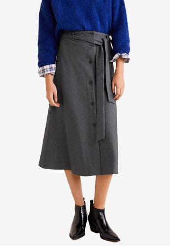Mango grey Flight Buttons Skirt AB93BAAD8152BBGS_1