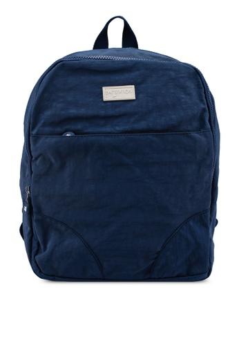 Bagstationz navy Crinkled Nylon Small Backpack 68489AC9BFA03FGS_1
