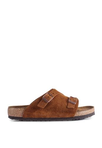 Birkenstock 褐色 Zürich Suede Sandals DC6EFSH8F56D5DGS_1