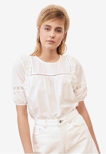Trendyol white Frilly Short Sleeve Blouse 5CABBAA4B0B2B3GS_1