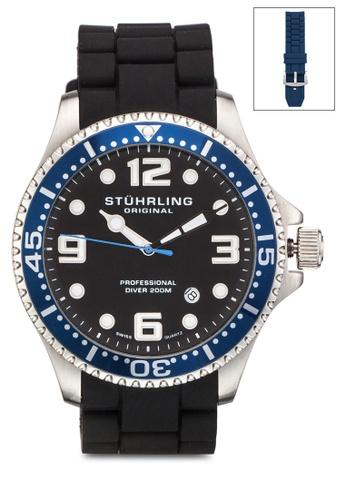 Stuhrling Original black Aquadiver Watch ST251AC28MZRMY_1