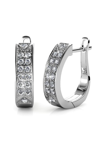 Her Jewellery white and silver Meg Hoop Earring WG - Anting Crystal Swarovski by Her Jewellery 54E90ACDD0B574GS_1