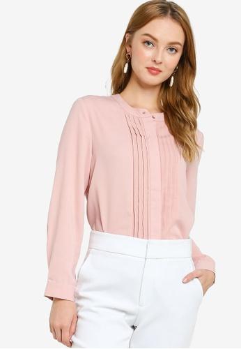 ZALORA WORK pink Mini Pleats Long Sleeves Blouse 5CF48AAD08DC7FGS_1