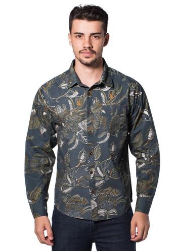 Bum Equipment blue B.U.M Equipment Men Full Art L/S Woven Shirt  (MD BLUE) BU054AA0RHE9MY_1