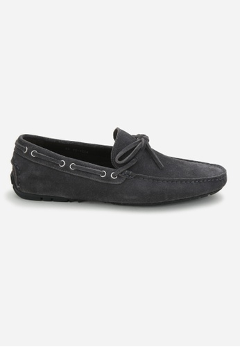 Earnest & Collective grey Parker Slate Grey Suede Driving Loafers 38FD1SH70EF109GS_1