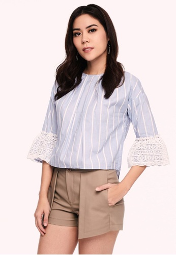 b1fd1701a17 Striped Lace Trim Blouse