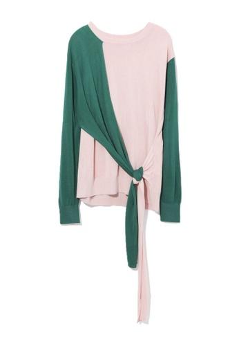 GREENISHPINK pink Colour block front tie sweater. 06B0FAAE336DFFGS_1