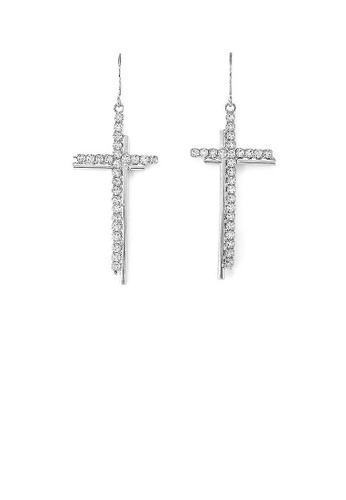 Glamorousky silver Dazzling Cross Earrings with Silver Austrian Element Crystal B4F3FAC5FE59A5GS_1