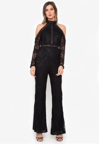 NOBASIC black Cold Shoulder Lace Jumpsuit 296DEAA0AFB2BDGS_1