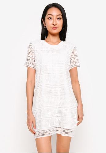 ZALORA BASICS white Crochet Shift Dress E8D8CAA235328BGS_1