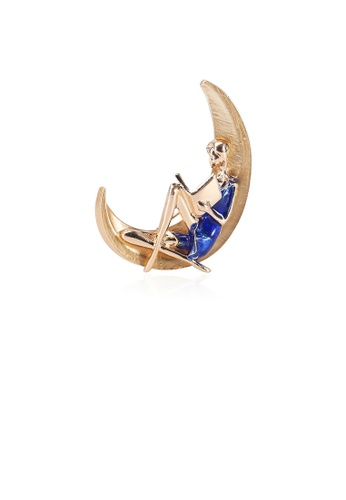 Glamorousky silver Simple Personality Plated Gold Moon Blue Reading Boy Brooch 64A12ACD3EDA68GS_1