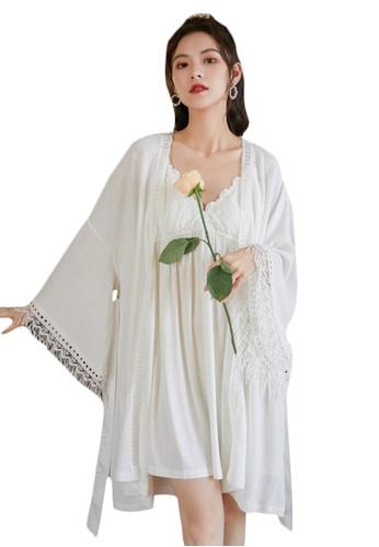 LYCKA white LML1308-Lady Lace Pajamas Two Pieces Set-White DC7B5AA6AA1796GS_1