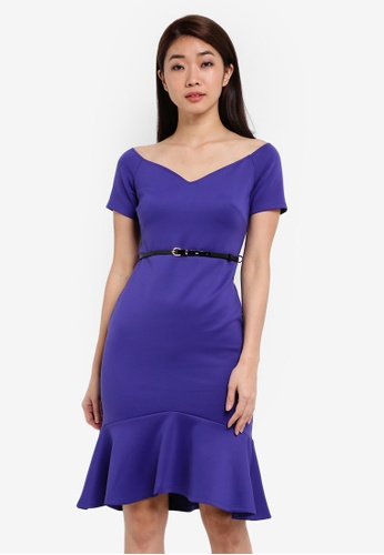 Dorothy Perkins purple Petite Purple Bardot Dress DO816AA0RSOXMY_1