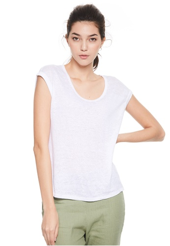 United Colors of Benetton white Round neckline T-shirt B5749AA761DB79GS_1