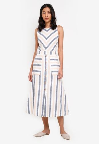 WAREHOUSE blue Neutral Stripe Midi Dress 69567AA3A5E196GS_1