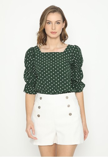 Mannequin green Square Polkadot Blouse 527DEAAD4C1796GS_1