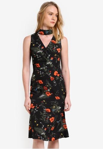 ZALORA black and multi Choker Neck Midi Dress 90242AA29F8651GS_1