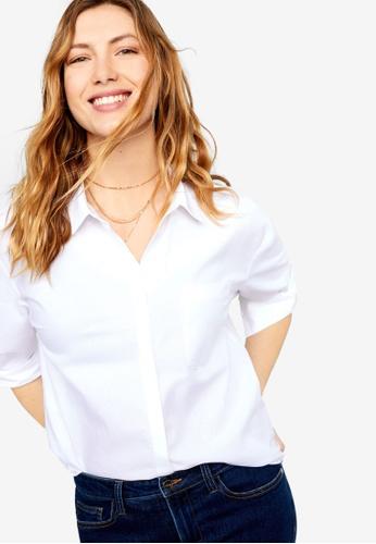 Violeta by MANGO white Plus Size Chest-Pocket Cotton Shirt 2E789AAD4A14DBGS_1