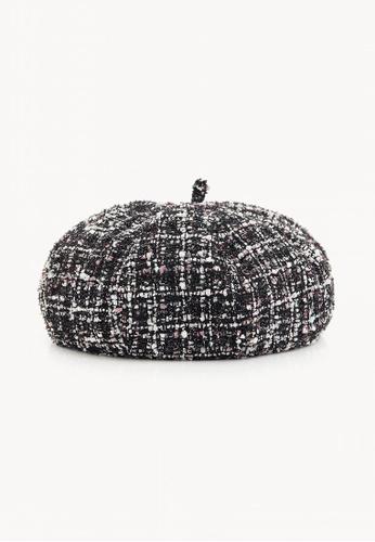 Buy Pomelo Tweed Beret Hat - Black Online on ZALORA Singapore 3438f61cc3c