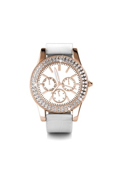 8a02340d6 Her Jewellery white Sonia Leather Watch (White, Rose Gold) - Embellished  with Crystals
