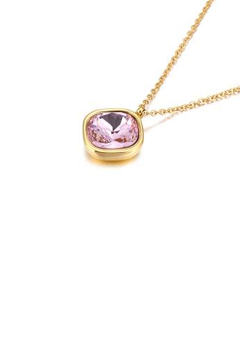 Glamorousky 粉紅色 簡約個性鍍金色幾何方塊粉色鋯石316L鋼吊墜配項鏈 0398DACD767522GS_1